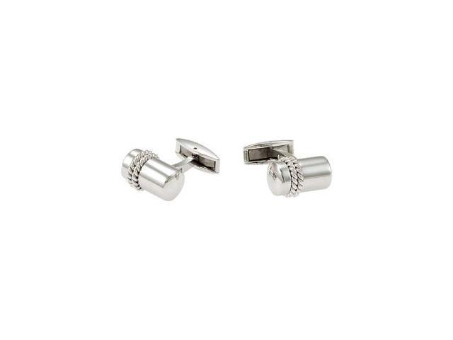 Stainless Steel Cuff Links with Sterling Silver Inlay