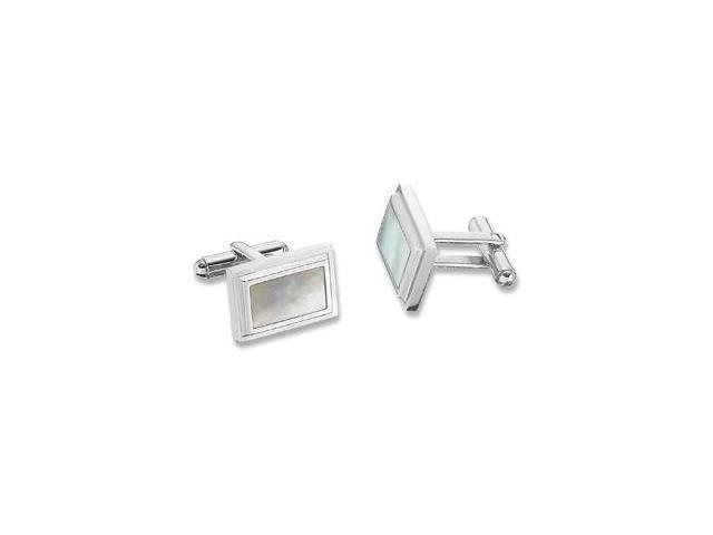 Stainless Steel Mother of Pearl Cuff Links