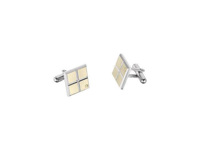 Stainless Steel & 14kt Yellow Cuff Links