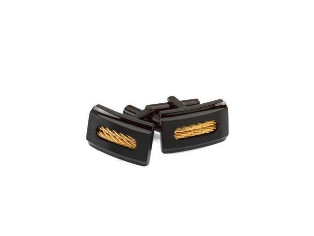 Black Ion Plated Stainless Steel Cufflinks with Yellow Ion Plated Cable