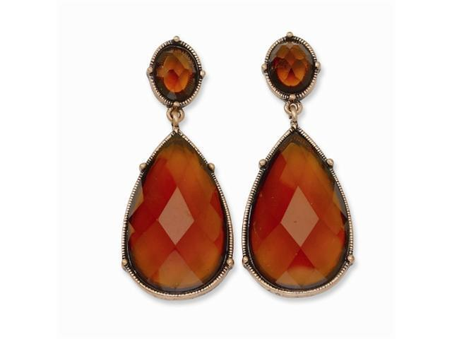 1928 Copper-tone Brown Crystal Teardrop Post Dangle Earrings