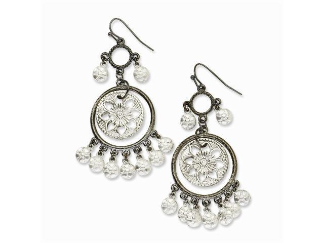 1928 Black-plated and Silver-tone Chandelier Earrings