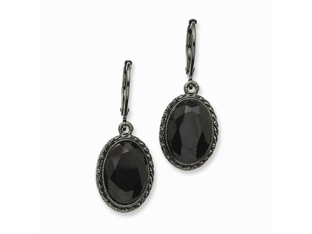 1928 Black-plated Faceted Jet Bead Oval Drop Leverback Earrings
