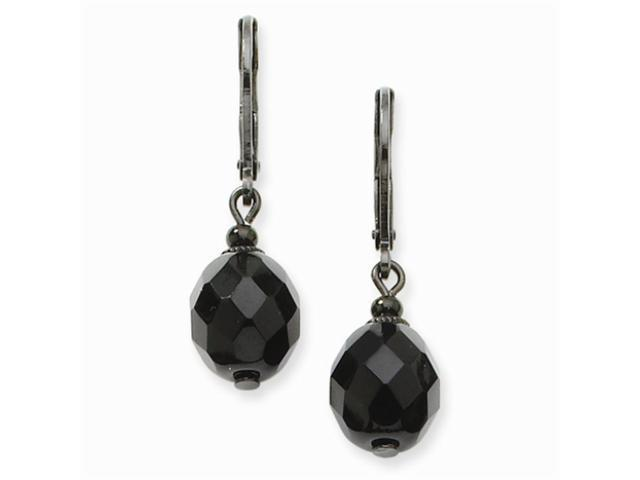 1928 Black-plated Faceted Jet Bead Drop Leverback Earrings