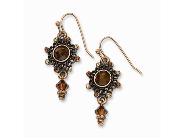 1928 Copper-tone Colorado Crystal Dangle Earrings