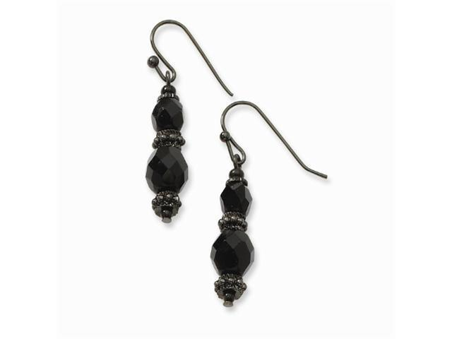1928 Black-plated Faceted Jet Beaded Drop Earrings
