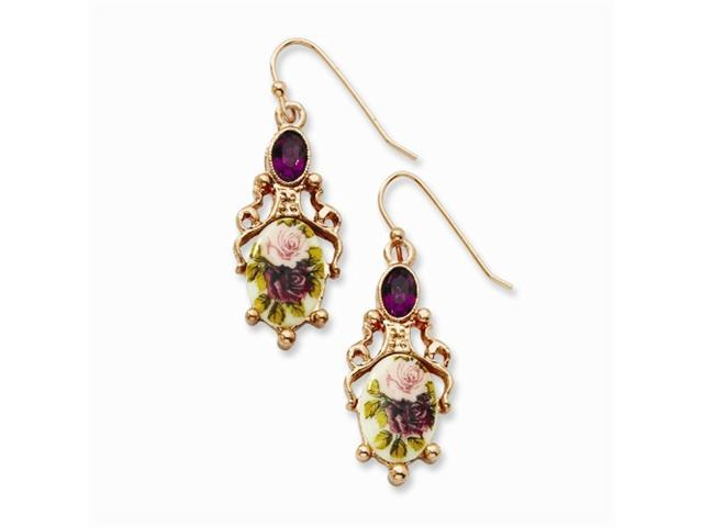 1928 Rose-tone Dark Purple Crystal/Floral Decal Drop Earrings