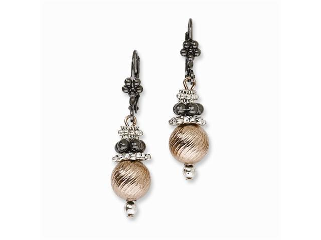 1928 Black-plated, Copper-tone & Silver-tone Leverback Earrings
