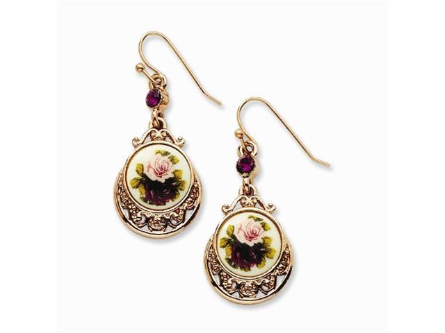 1928 Rose-tone Dark Purple/Floral Decal Drop Earrings