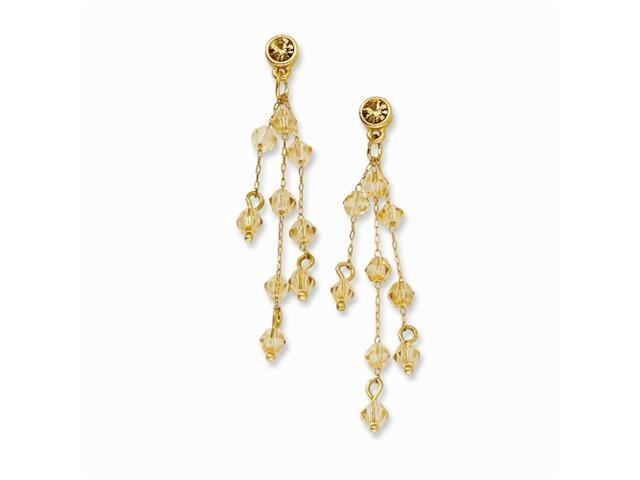 1928 Gold-tone Light Colorado Crystal Post Dangle Earrings
