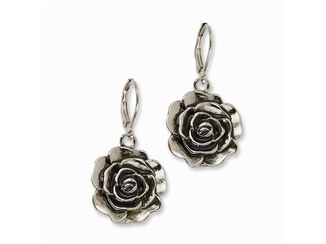 1928 Silver-tone Antiqued Flower Dangle Earrings