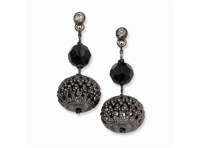 1928 Black-plated Fancy Dangle w/ Black Crystals Post Earrings
