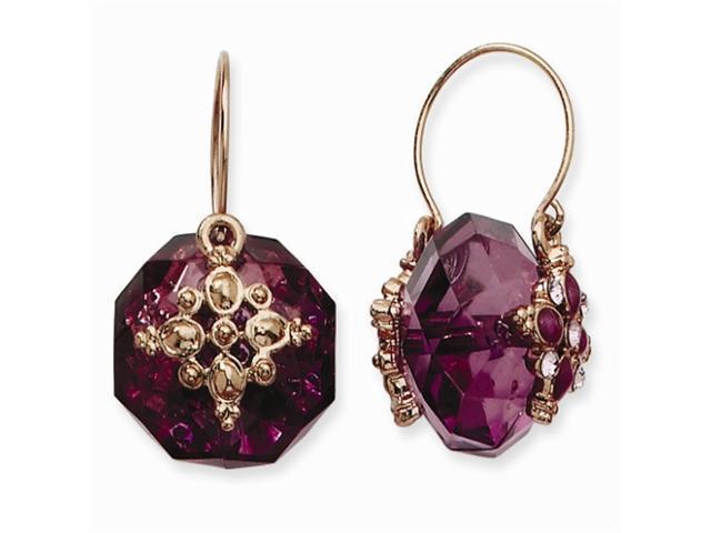 1928 Rose-tone Light & Dark Purple Crystal Drop Enamel Flower Wire Earrings