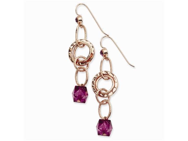 1928 Rose-tone Dark Purple Crystal Bead Multi Circle Dangle Earrings