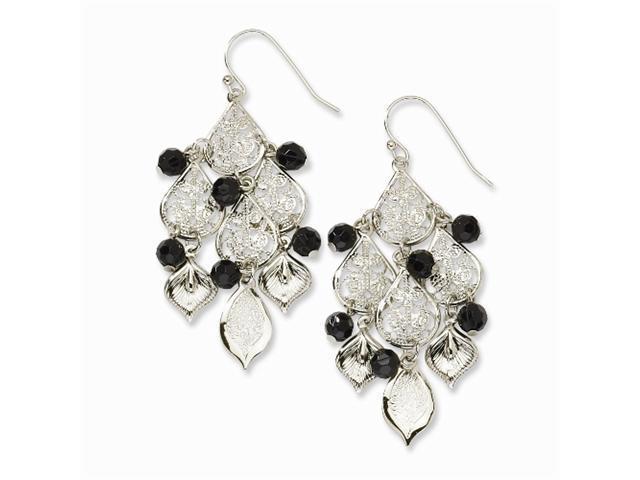 1928 Silver-tone Black Crystal Filigree Chandelier Earrings