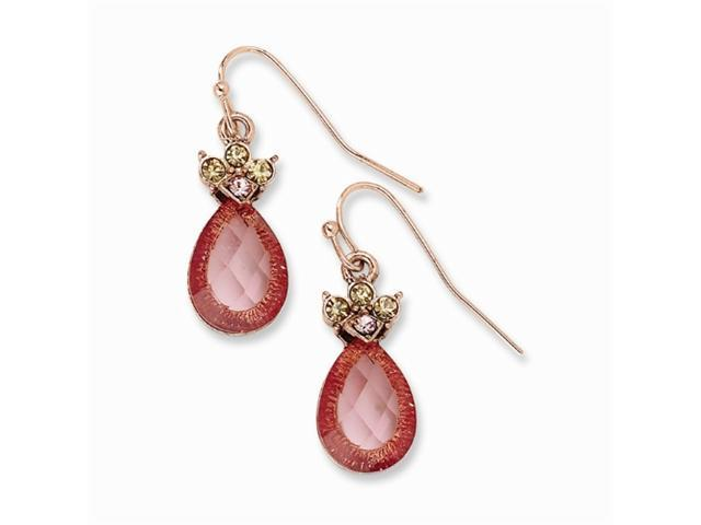 1928 Rose-tone Rose & Lt. Colorado Crystal Teardrop Earrings