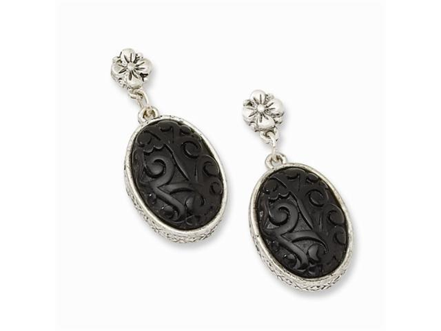 1928 Silver-tone Black Enamel Post Dangle Earrings