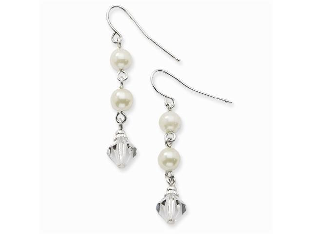 1928 Silver-tone 2-Cultura Glass Pearls & Crystal Drop Earrings