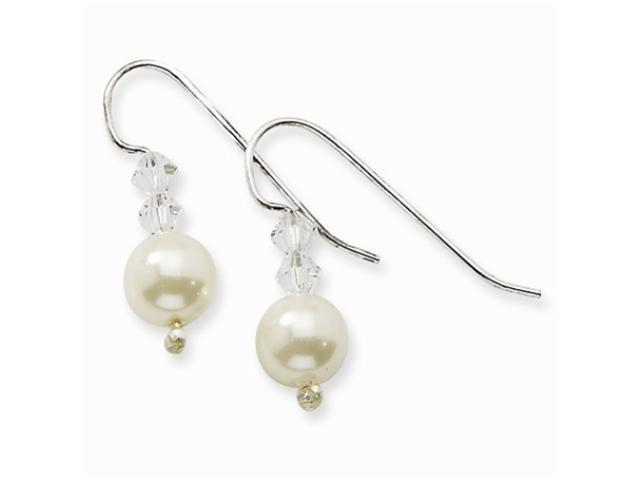 1928 Silver-tone 2 Crystals & Cultura Glass Pearl Drop Earrings