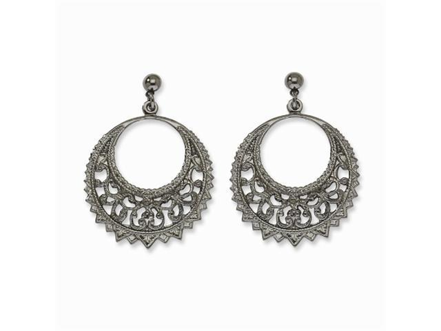 1928 Black-plated Filigree Fancy Hoop Post Dangle Earrings
