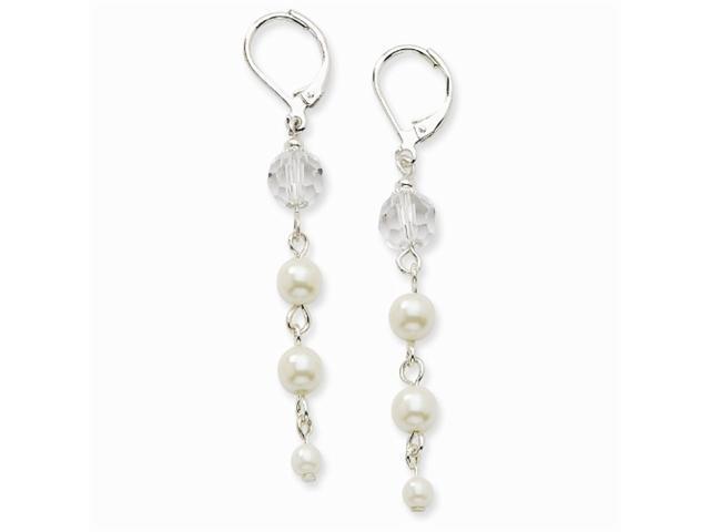 1928 Silver-tone Cultura Glass Pearl & Crystal Leverback Earrings