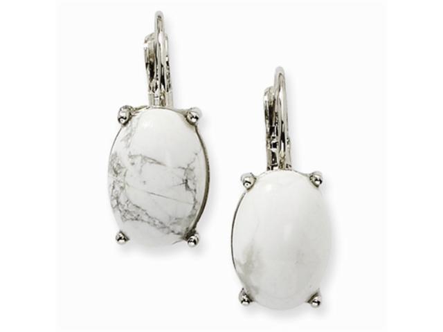1928 Silver-tone Howlite Oval Leverback Earrings