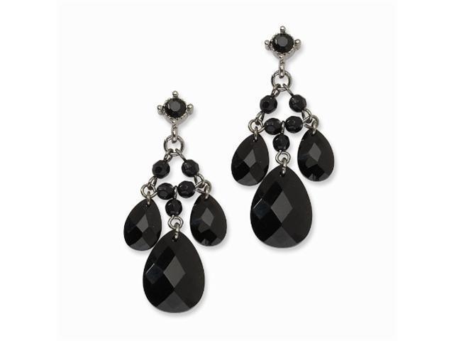 1928 Black-plated Black Crystal Cascading Teardrops Post Chandelier Earrings