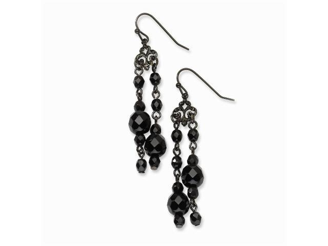 1928 Black-plated Black Crystal Dangle Earrings