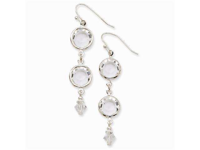 1928 Silver-tone Crystal Bezel Drop Earrings