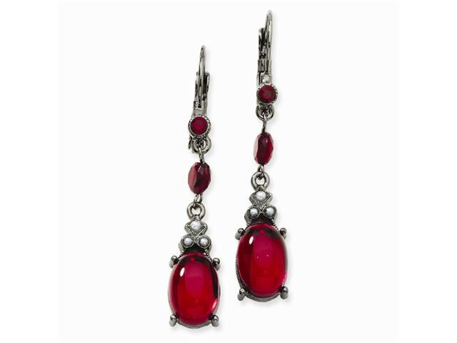1928 Black-plated Red Crystal Cabochon Drop Leverback Earrings