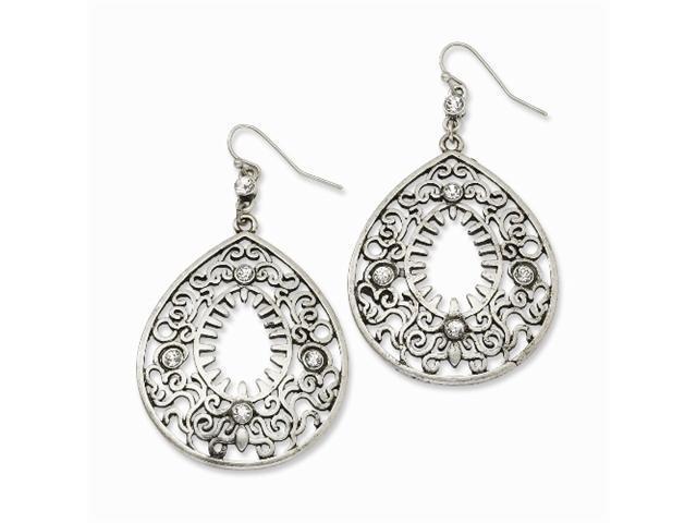 1928 Silver-tone Clear Crystal Filigree Teardrop Dangle Earrings