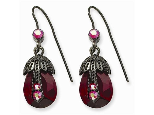 1928 Black-plated Red Aurora Borealis Crystal Pearshape Drop Earrings