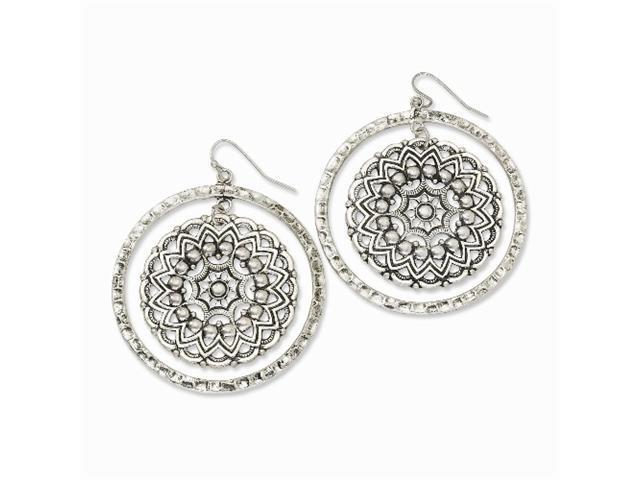 1928 Silver-tone Hammered Hoop w/ Floral Disc Dangle Earrings