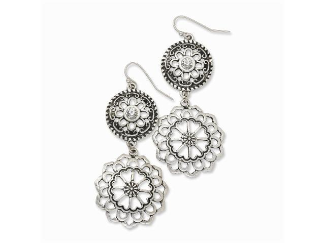 1928 Silver-tone Double Drop Floral Filigree w/ Clear Crystal Dangle Earrings