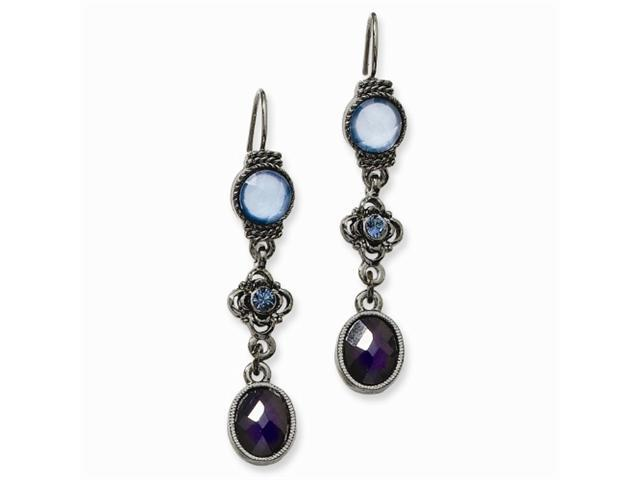 1928 Black-plated Lt & Dk Blue Crystal Drop Leverback Earrings