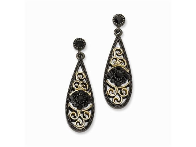 1928 Black-plated, Brass-tone, Black Crystal Post Dangle Earrings