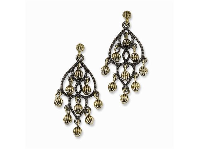 1928 Black-plated & Brass-tone Fancy Chandelier Post Earrings