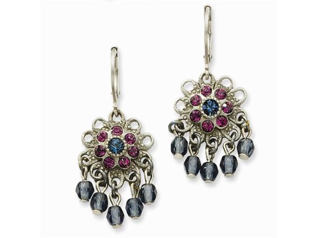 1928 Pewter-tone Blue & Purple Crystal Beaded Leverback Earrings