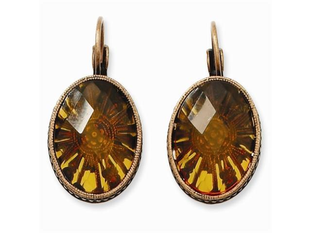 1928 Burnish Copper-tone Smokey Brown Crystal Oval Leverback Earrings