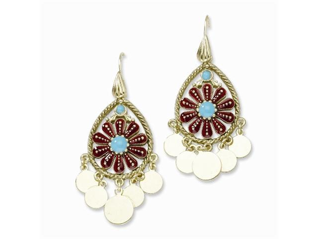 1928 Brass-tone Teal & Red Enamel Fancy Teardrop Dangle Earrings