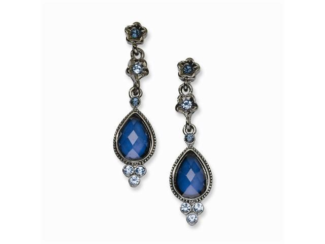 1928 Black-plated Light & Dark Blue Crystal Post Dangle Earrings
