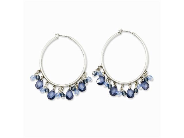 1928 Silver-tone Light & Dark Blue Crystals Hoop Earrings