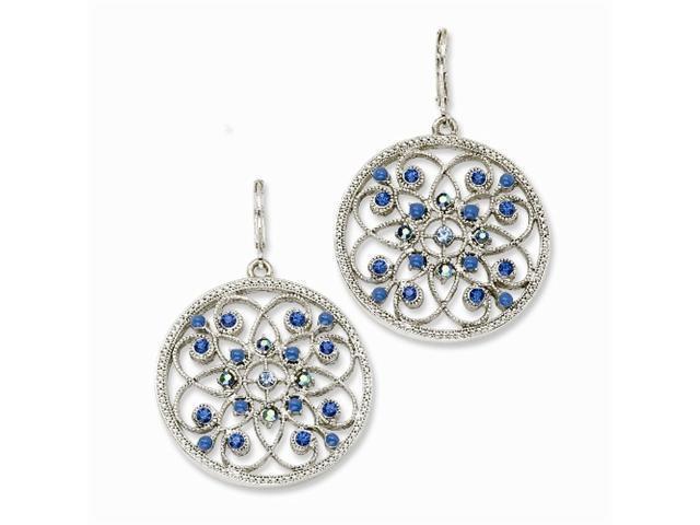 1928 Silver-tone Blue Crystals Fancy Leverback Earrings