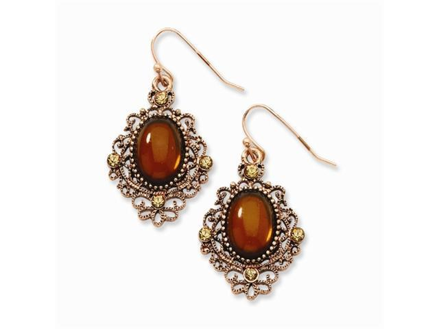 1928 Copper-tone Lt. Colorado & Brown Crystal Dangle Earrings