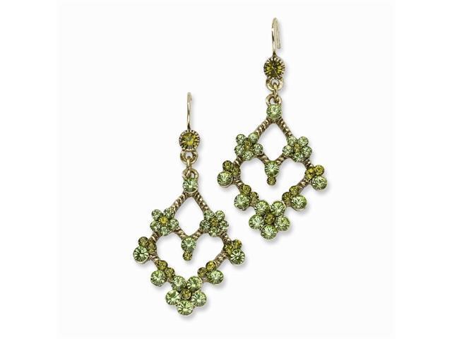 1928 Brass-tone Olive & Green Crystal Chandelier Earrings