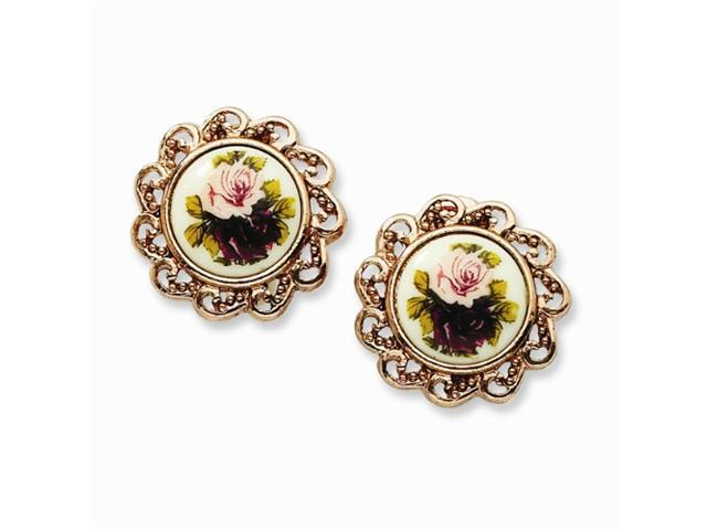1928 Rose-tone Floral Decal Non-Pierced Round Earrings