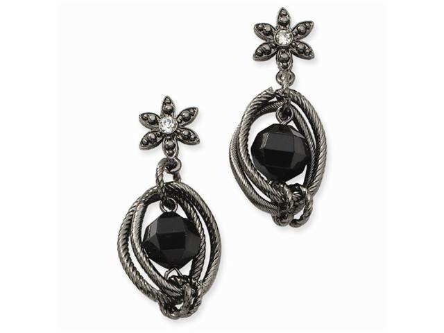 1928 Black-plated Faceted Jet/Clear Crystal Flower Drop Post Earrings