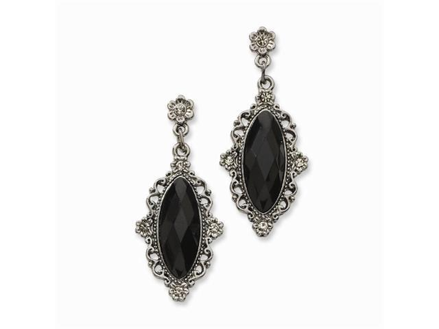1928 Black-plated Faceted Jet & Black Crystal Oval Post Earrings