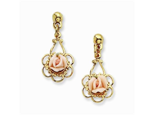 1928 Gold-tone Pink Porcelain Rose Filigree Drop Post Earrings