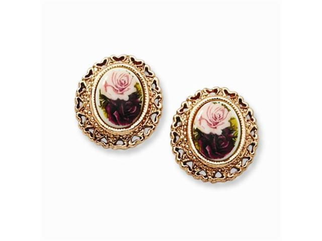 1928 Rose-tone Rose Flower Decal Button Post Earrings